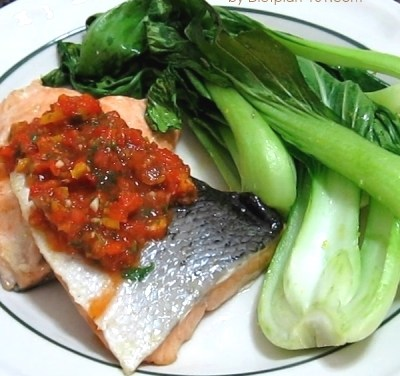 Baked Salmon with Bok Choy and Salsa (Atkins Diet Phase 1 Recipe)