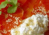 Pink Grapefruit with Cottage Cheese and Honey Recipe