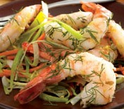 Pan Seared Shrimp with Carrot & Leek (Dukan Diet PV Cruise Recipe)