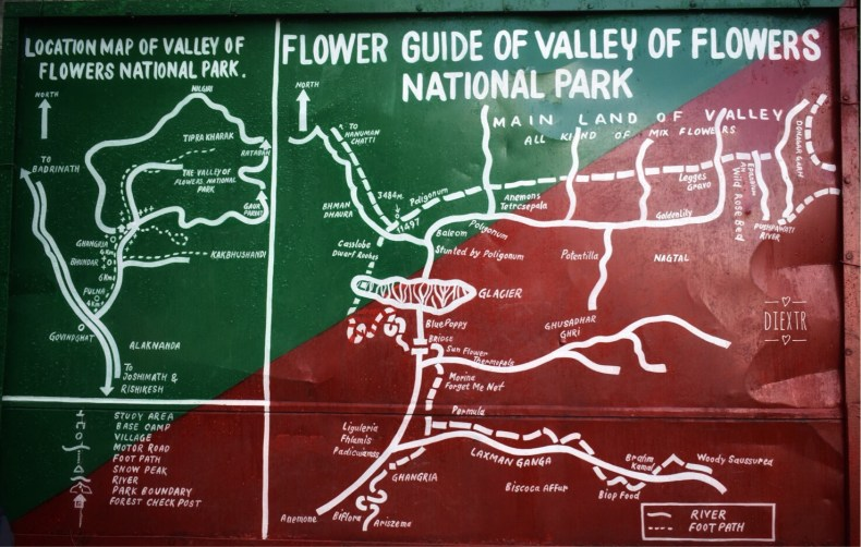 Map of Valley of Flowers National Park