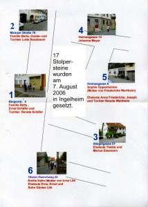 Übersichtsplan Stolpersteine 2006