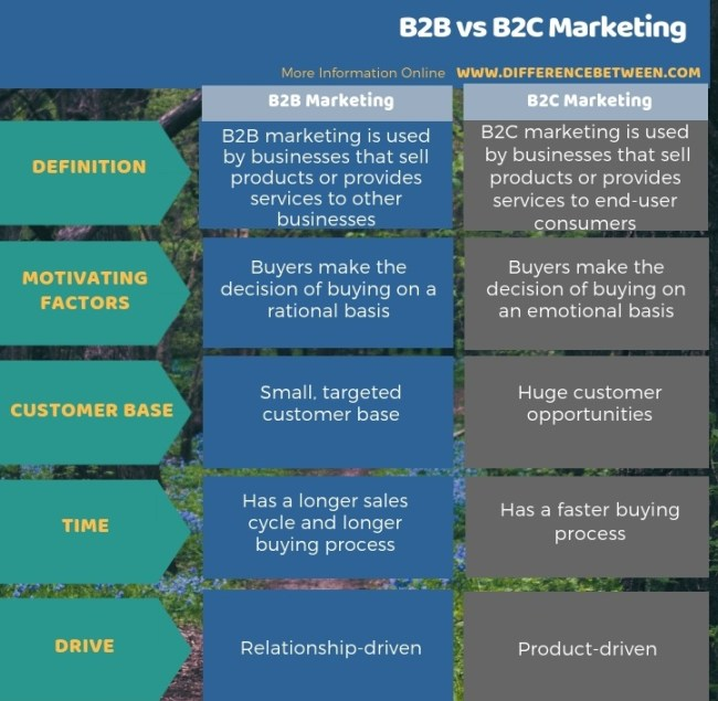 Difference Between B2B and B2C Marketing in Tabular Form