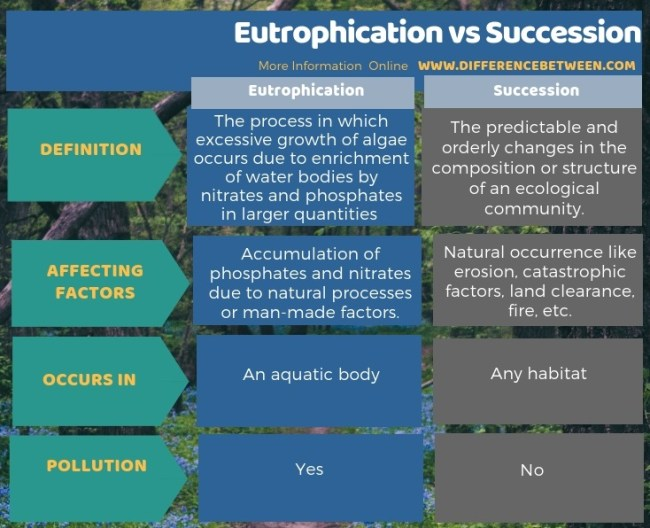 Difference Between Eutrophication and Succession in Tabular Form