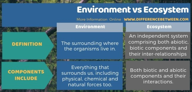 Difference Between Environment and Ecosystem in Tabular Form