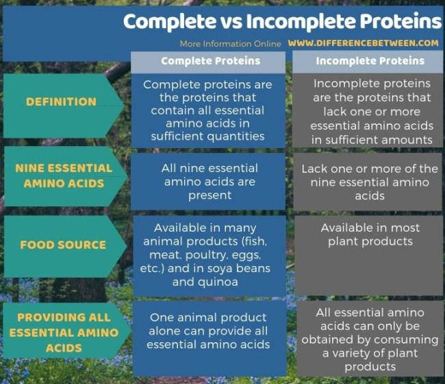 Difference Between Complete and Incomplete Proteins in Tabular Form