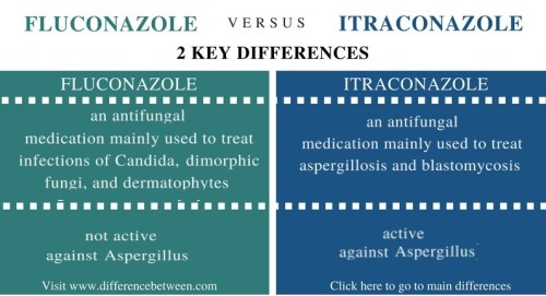 Difference Between Fluconazole and Itraconazole - Comparison Summary