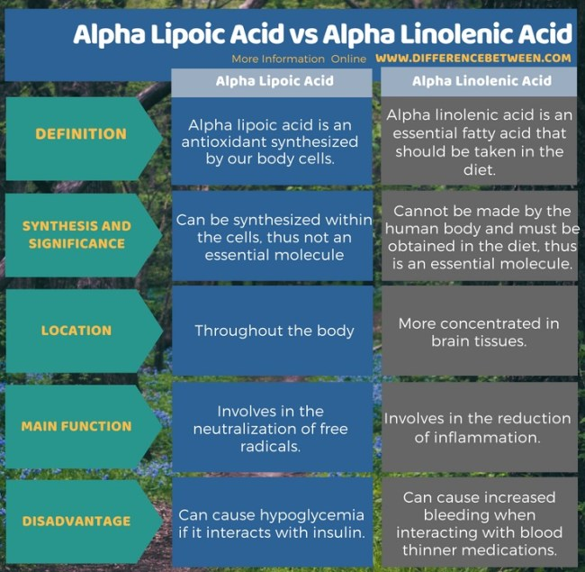 Difference Between Alpha Lipoic Acid and Alpha Linolenic Acid in Tabular Form