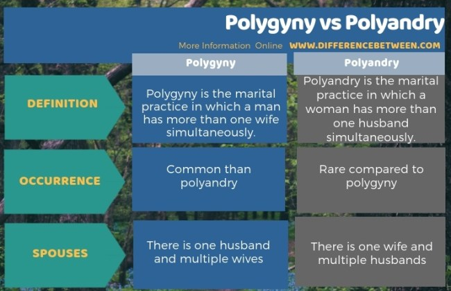 Difference Between Polygyny and Polyandry in Tabular Form