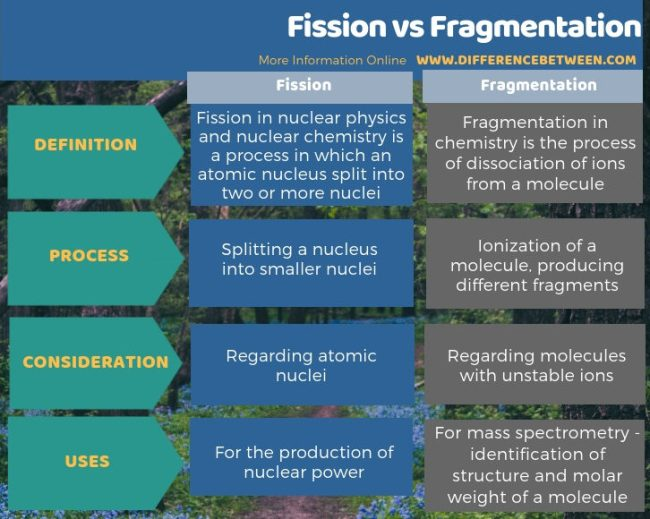 Difference Between Fission and Fragmentation in Tabular Form