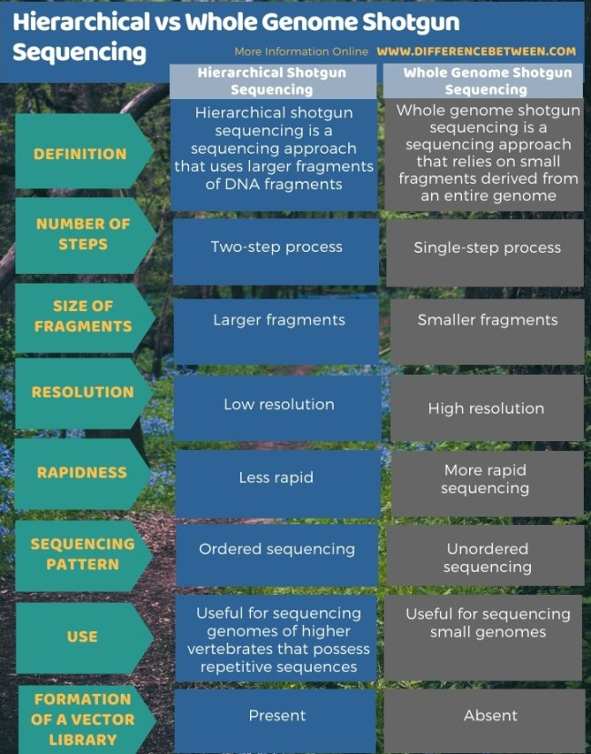 Difference Between Hierarchical and Whole Genome Shotgun Sequencing in Tabular Form