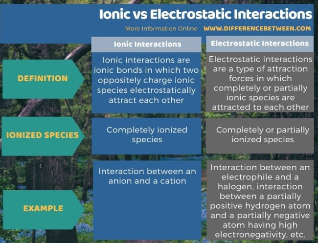 Difference Between Ionic and Electrostatic Interactions in Tabular Form