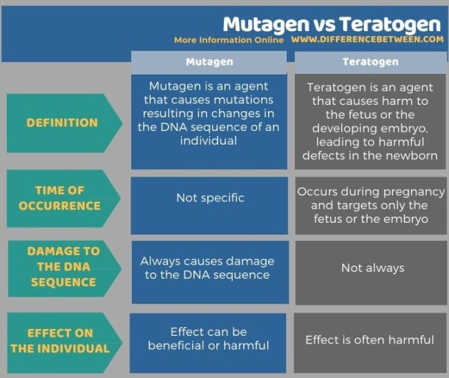 Difference Between Mutagen and Teratogen in Tabular Form