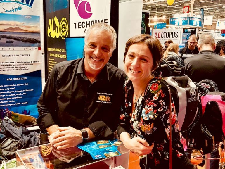 Aldo Ferrucci et Hélène Adam de different Dive au salon de la plongée à Paris