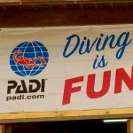 "Un drapeau avec le logo de PADI et l'inscription ""DIVING IS FUN"""