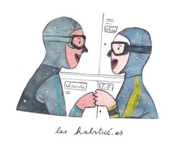 Illustration de Sara Quod représentant deux plongeurs de profil habitué