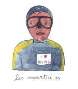 Illustration de Sara Quod représentant un plongeur de profil meurtri