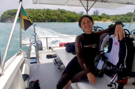 Hélène au retour d'une plongée en Jamaïque