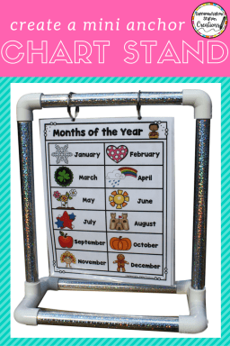 DIY Mini Anchor Chart Stand! Create a tabletop anchor chart stand to display your anchor charts, directions, word walls, or more!