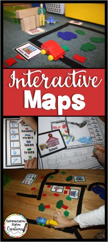 Interactive map activities. Get kids excited about maps with an interactive map center in your blocks center. Freebie to get you started.