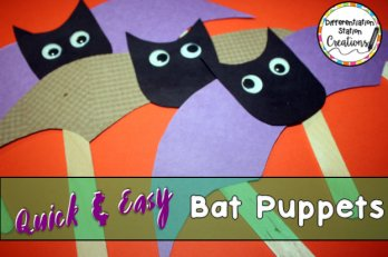 quick and easy bat puppets