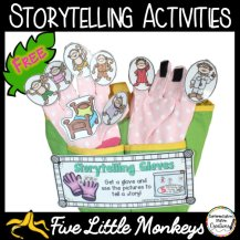 "Free storytelling resources to explore the story of the ""Five Little Monkeys Jumping On The Bed"". Kids will love to use storytelling gloves, a magnetic storyboard, or create their own finger puppets."