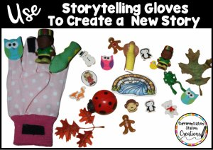 Use storytelling gloves to create a new story. Use pictures, erasers, plastic objects or felt with the storytelling gloves.