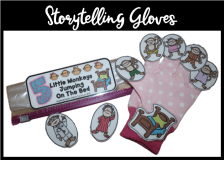 "DIY: ""Five Little Monkeys"" storytelling gloves and fingerpuppets. Free storytelling resources to use with the ""Five Little Monkeys Jumping On The Bed""!"
