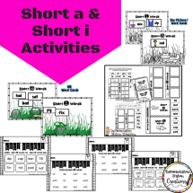 Free set of hands on activities for short vowel practice. Free sorting mats, interactive notebook, and exit tickets. Kids are sure to love them!