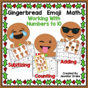 Explore math centers with gingerbread emojis.