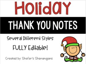 Editable holiday thank you notes