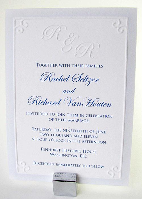 Embossed Border Monogram Wedding Invitation