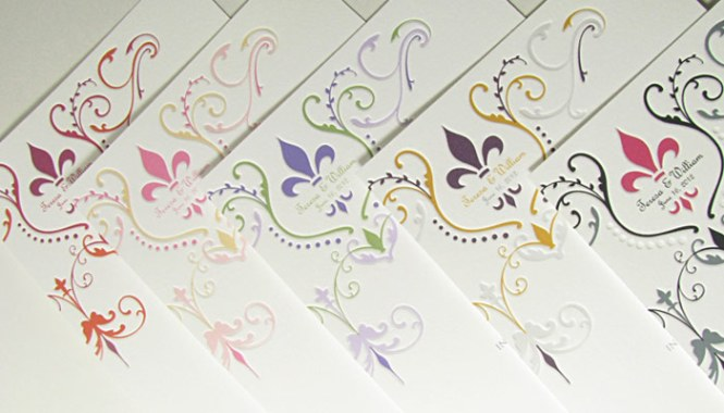 Fleur De Lis In Many Colors Wedding Invitation