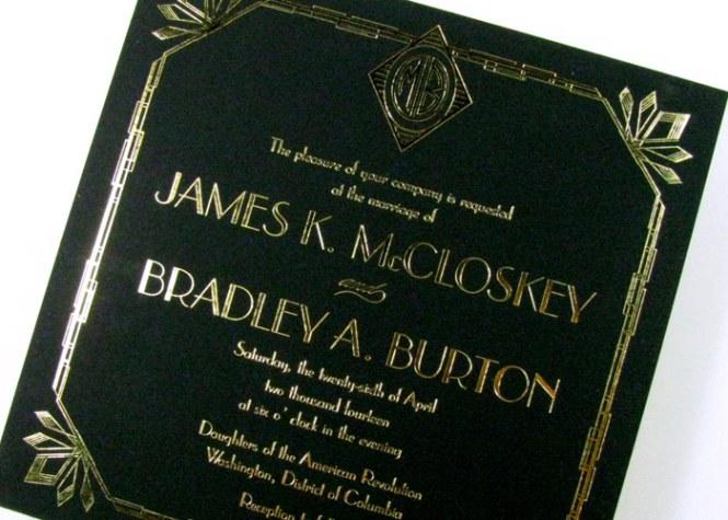 Great Gatsby Art Deco Wedding Invitations Digby Rose
