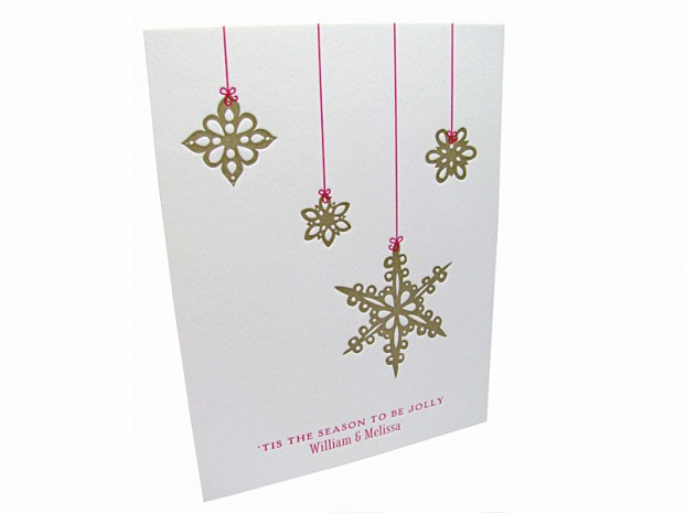 Letterpress Snowflake Ornaments Christmas Cards Digby