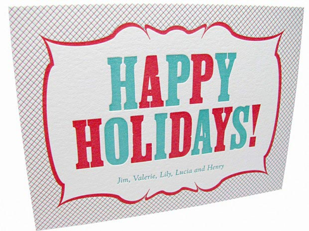 Letterpress Vintage Happy Holidays Card Digby Amp Rose
