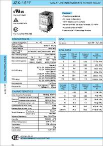 JZX18FF datasheet  Miniature Intermediate Power Relay