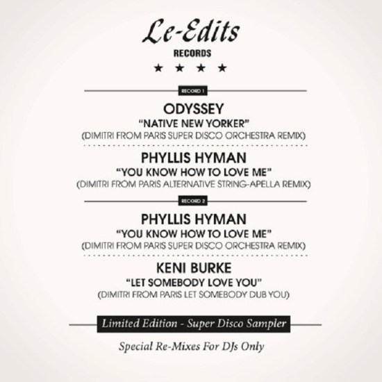 """Odyssey / Phyllis HYMAN / Keni Burke - RSD 2018 Native New Yorker / You Know How To Love Me / Let Somebody Love You (Dimitri From Paris Special Re-Mixes) (2x12"""")"""
