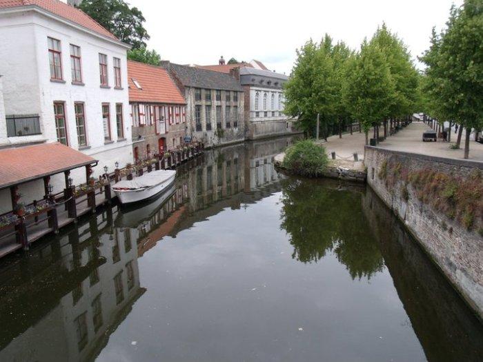 City street in city center Bruge, belgium