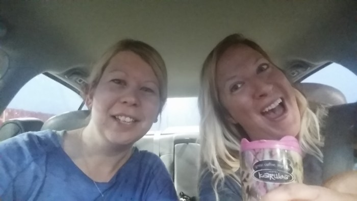 Silly smiles with coffee mug.Sorry, Terrie, I stole your favorite coffee mug. Krissi and I still trying to wake up after the sun woke up.