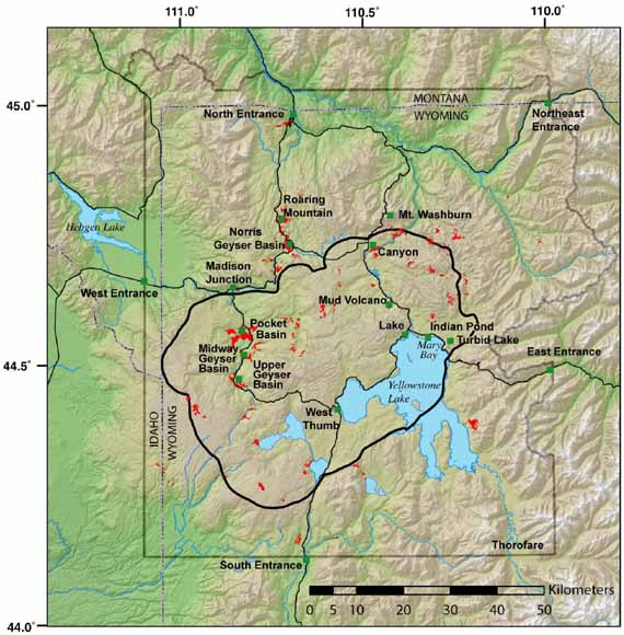 small map of Yellowstone in the northwest corner of Wyoming and a bit of Idaho to the west and Montana to the north