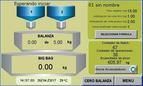 Pantalla principal operaciones control para llenado de big bag