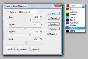 Selective color options window