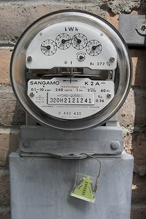 Image of traditional analog energy meter