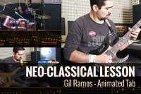 Neo-Classical Metal Exercise – Guitar, Bass & Drums animated tab by Gil Ramos