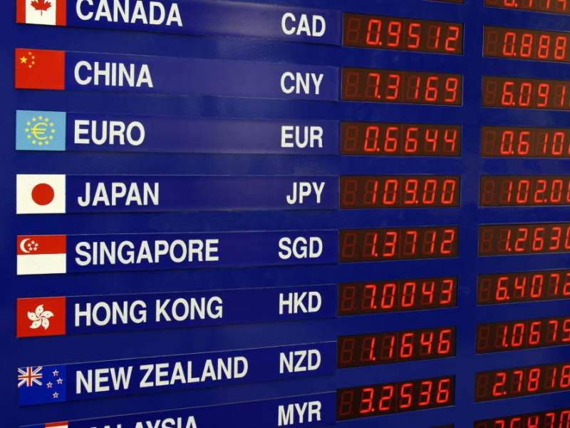 Currency exchange board showing cross rates between various countries