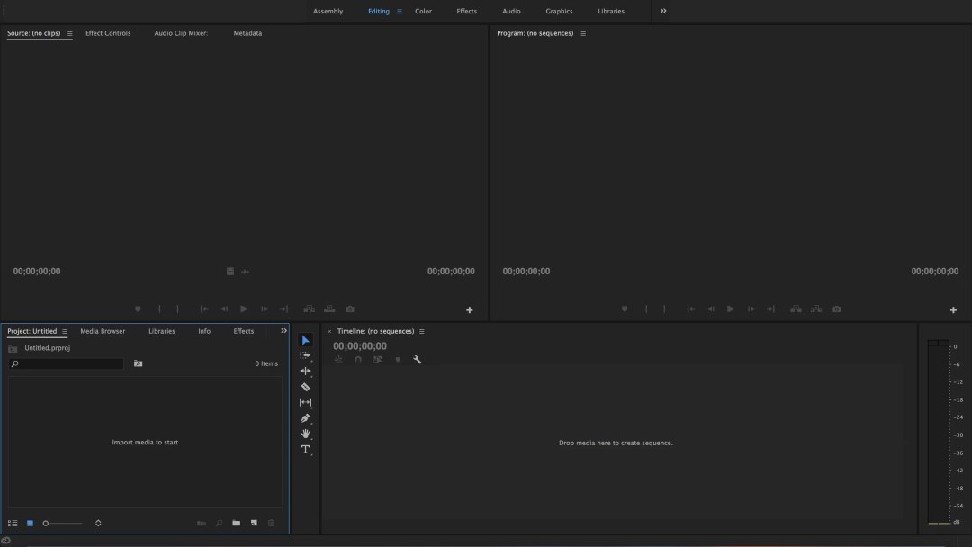 Adobe Premiere Pro Editing Workspace