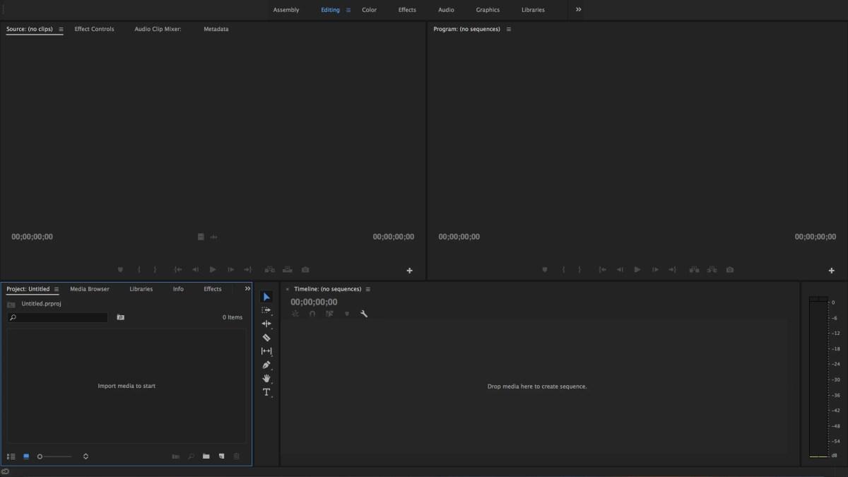 Adobe Premiere Pro Editing Workspace
