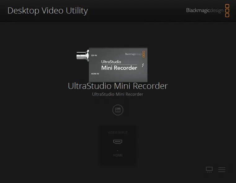 Blackmagic Design Mini Recorder Desktop Video Utility