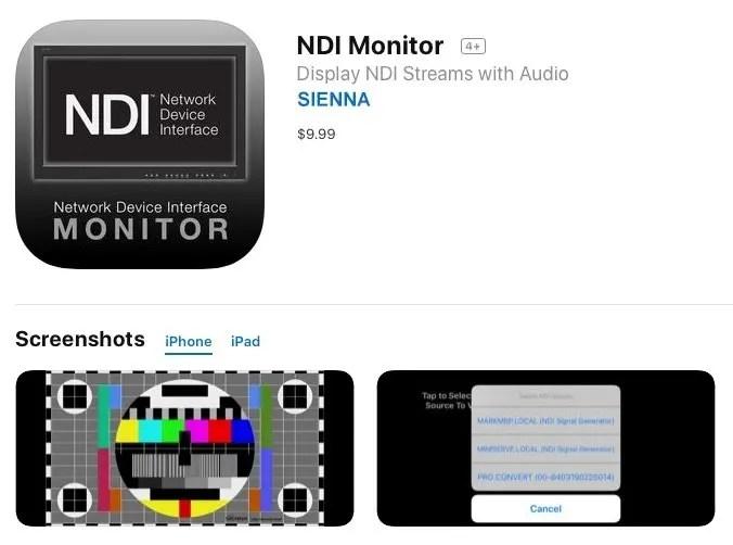 NDI Monitor iOS App