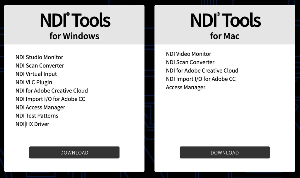 NDI Tools Downloads for Windows & Mac